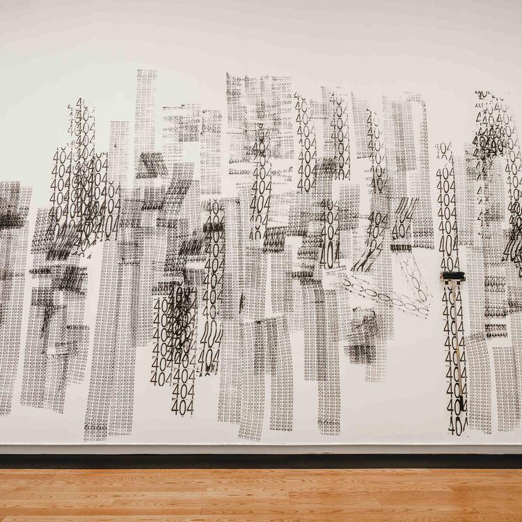 Aaajiao,《404》, 油墨、海绵滚轮,尺寸可变,2017,©杨锋艺术与教育基金会,致谢艺术家及杨画廊